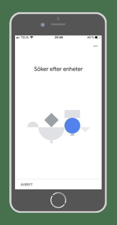 Google Home - Söker enhet