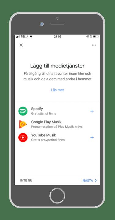 Google Home - Lägg till Medietjänster
