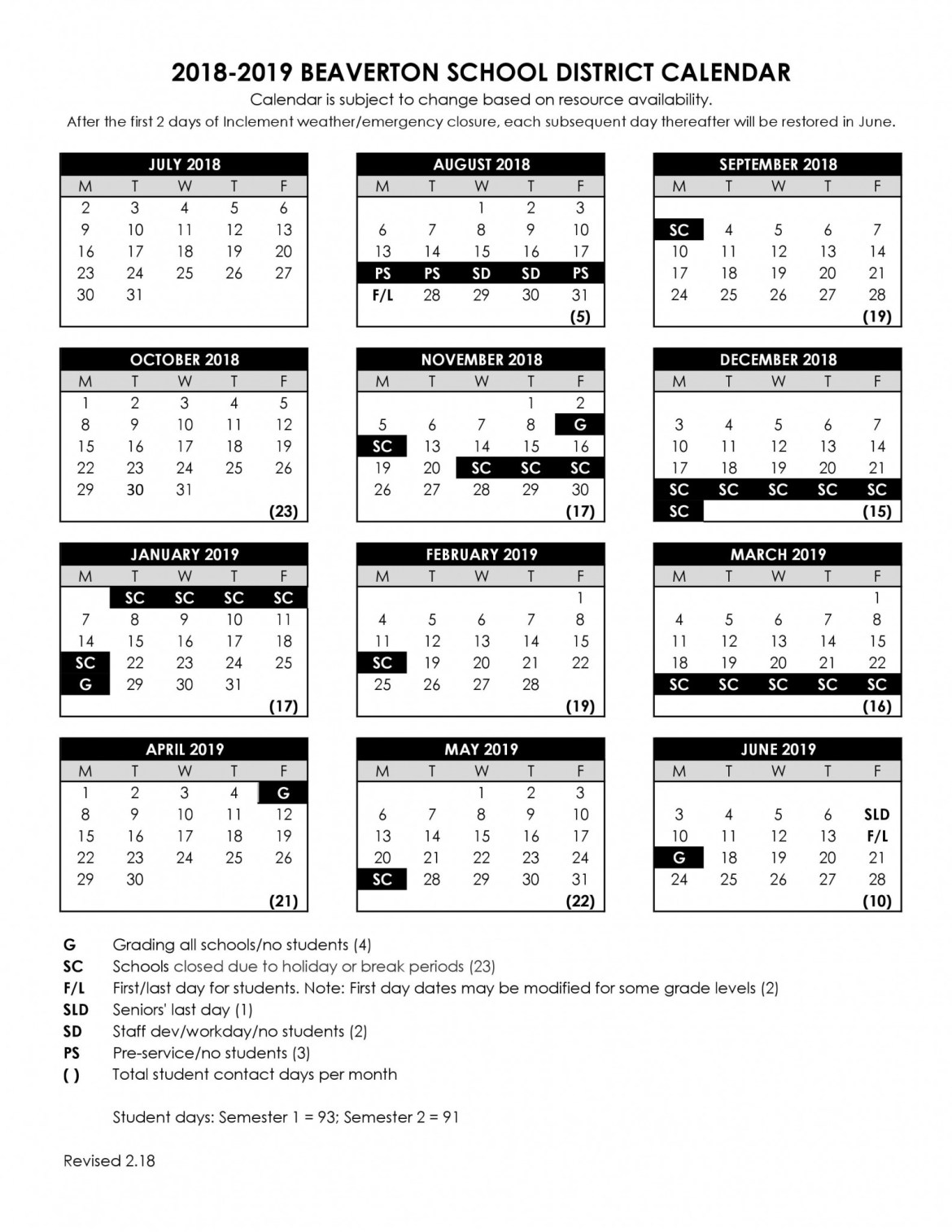 2018 Beaverton School District Calendar