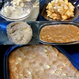 Etapas do preparo do bolo de maçã com canela