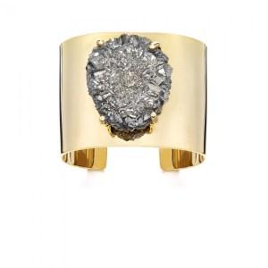 JANIS SAVITT High Polished Gold and Pyrite Cuff