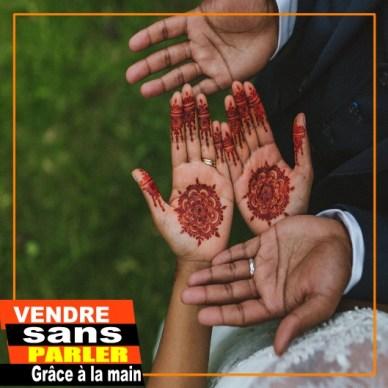 méthode de vente : main de couple indien
