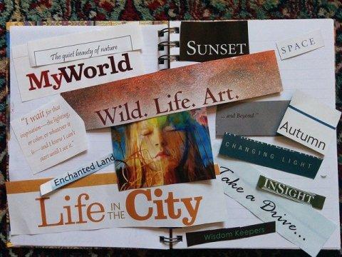 Miracle Morning - Tableau de Visualisation ou Vision board réalisé sur un cahier ouvert (photo, mots et phrases inspirant)