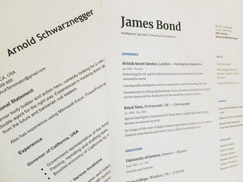 CV de James Bond et d'Arnold Schwarzenegger