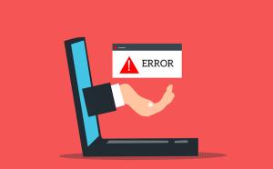Loi de Murphy  ou Loi de l'Emmerdement Maximum (LEM) - problèmes informatiques en série - ordinateur d'où une main sort de l'écran avec au-dessus un message d'erreur