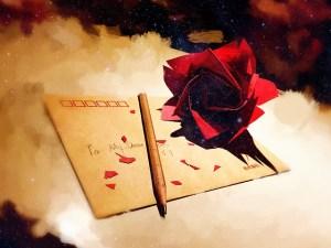 Je sais que tu m'aimes même si tu ne veux l'avouer - érotomanie - lettre avec une rose rouge et un crayon papier posés dessus