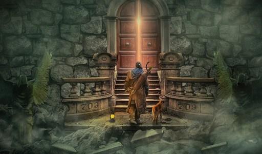 Peur de l'inconnu - Homme et chien devant une porte de château entrouverte