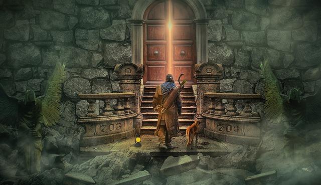 Peur de l'inconnu - Un homme et son chien devant une porte de château qui s'ouvvre