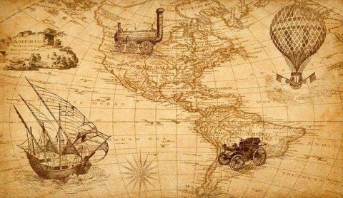 La sérendipité : l'échec transformé en réussite - Découvertes archéologiques ou de nouveaux continentes dues au hasard - mappemonde ancienne avec des modes de déplacement d'une autre époque (bateau, train, ballon, voiture)