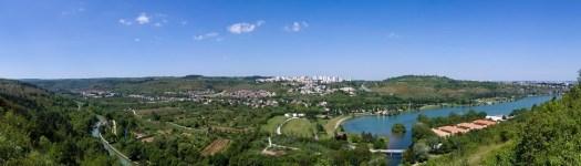 Vue panoramique d'avion du lac Kir et du canal de Bourgogne