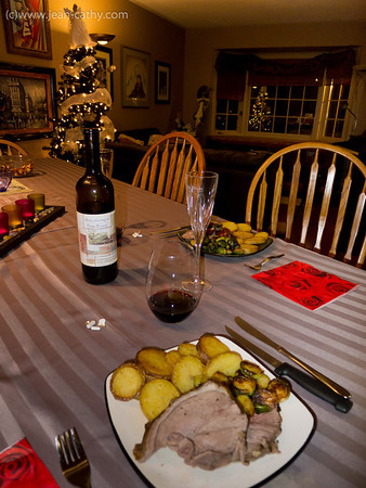 Lamb, potatoes, and brussel sprouts with red wine