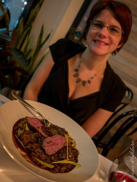 Medium Rare Lamb Sirloin with lentil cassoulet