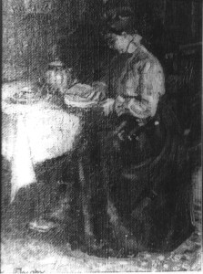 Inconnue - Femme tissant a table