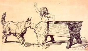Fillette et chien aboyant