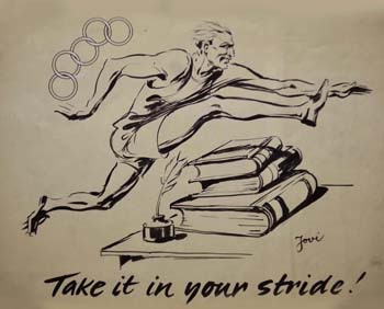 "Caricature ""Take it in your stride"""