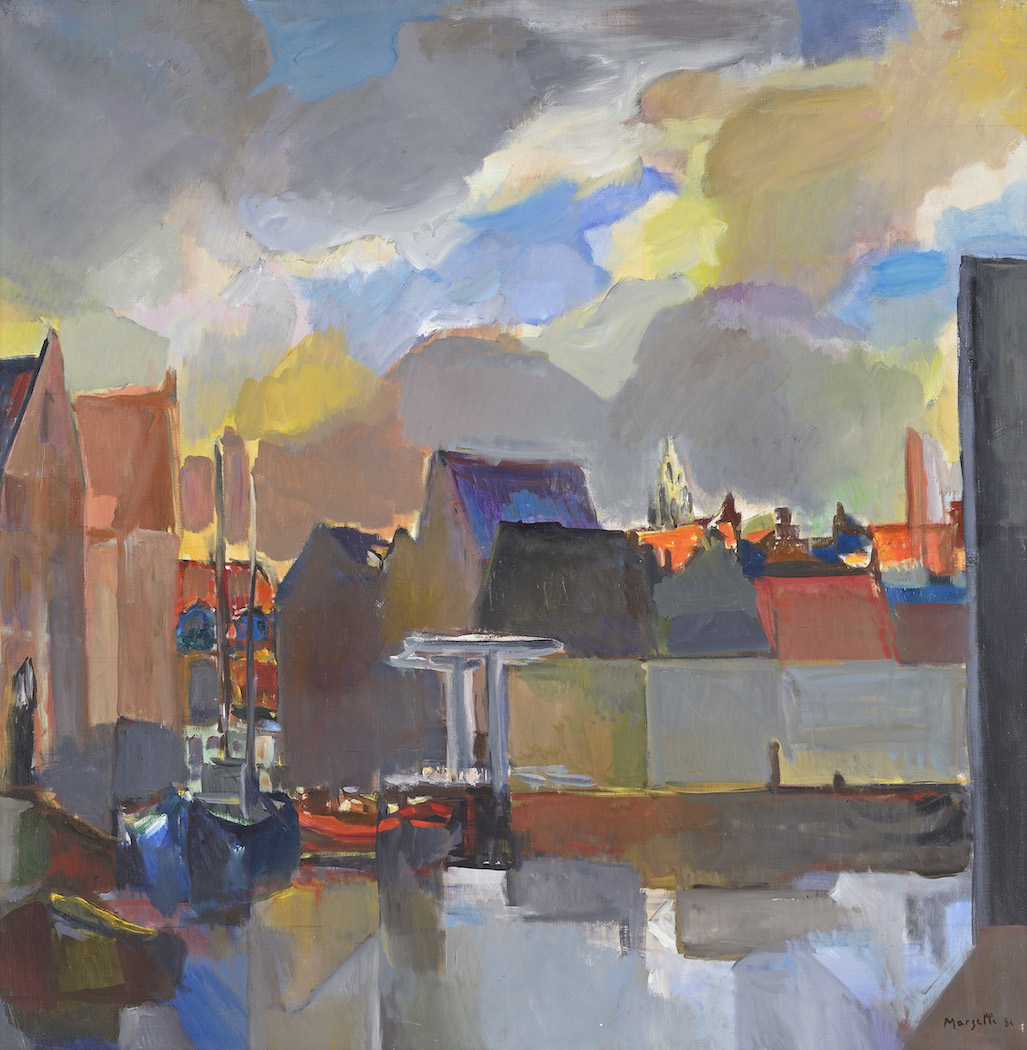 Jean Marzelle, Hollande, Hoorn, ciel nuageux 1984, Oil on canvas, 100 x 100 cm