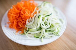 Carrot and zucchini zoodles