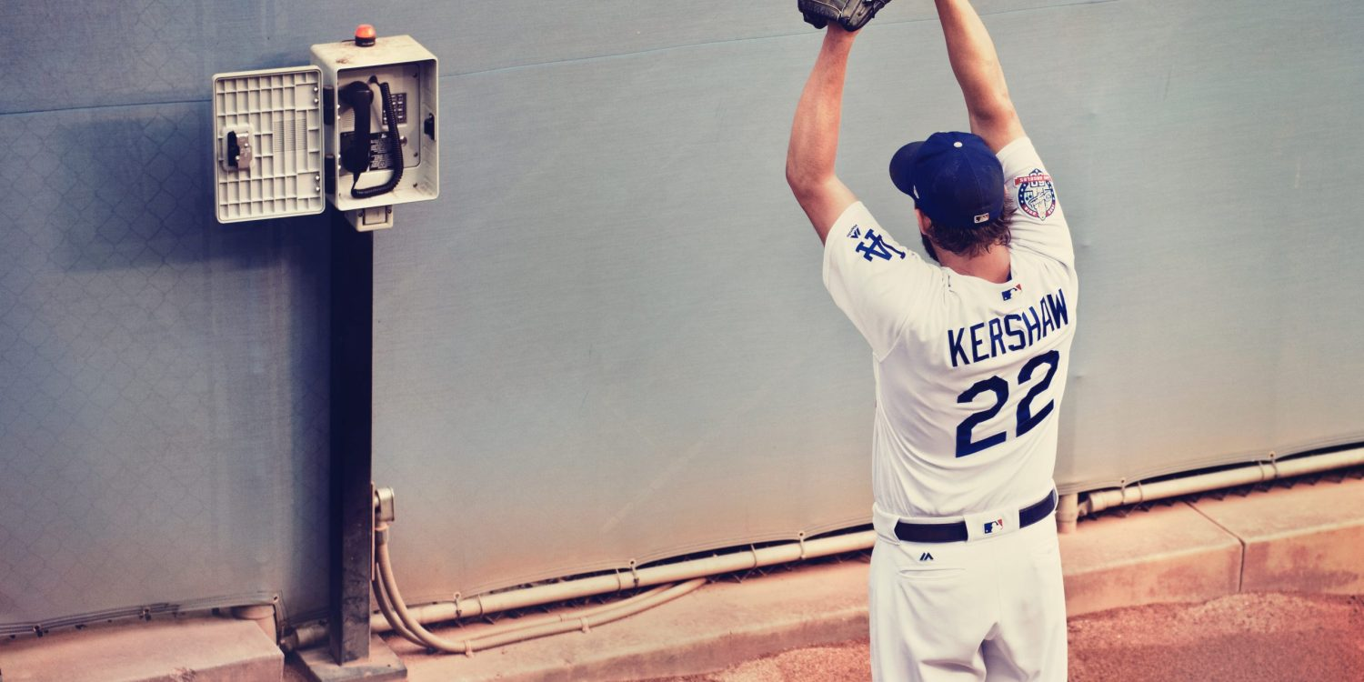 Clayton Kershaw warming up in the dodger bullpen.