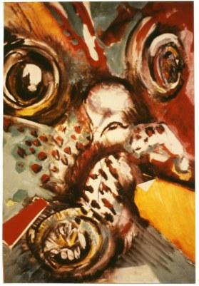 Pieuvre, 25 x 35 cm, gouache et craie sur papier