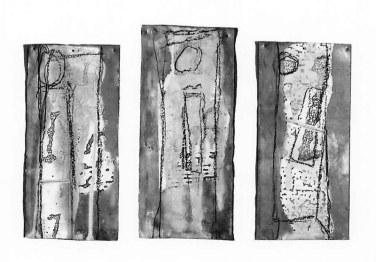 In situ, triptyque, 30 x 20cm, papier et crayon typographique sur plomb