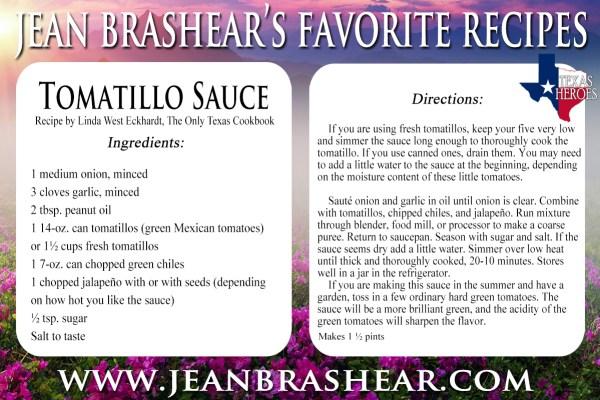 Tomatillo Sauce Recipe by Jean Brashear