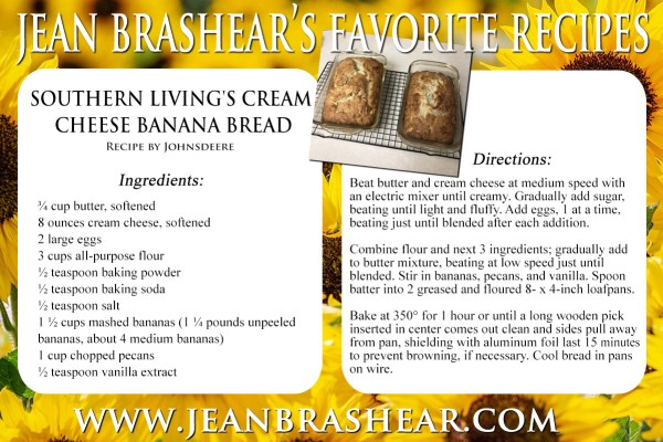 Southern Living's Cream Cheese Banana Bread Recipe by Jean Brashear