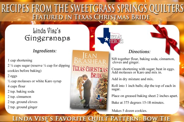 Gingersnaps Recipe Featured in Texas Christmas Bride by Jean Brashear