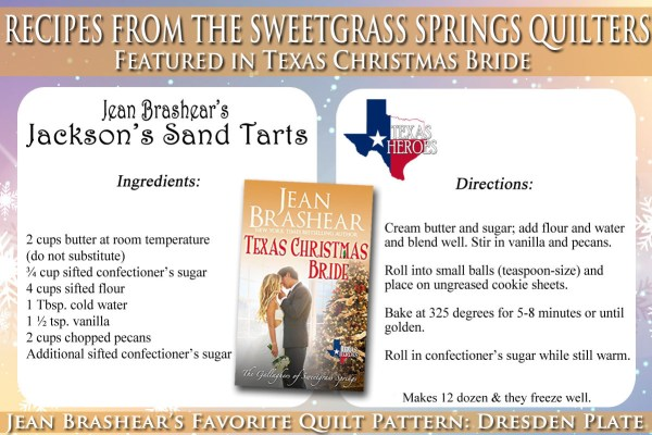 Jackson's Sand Tarts Recipe Featured in Texas Christmas Bride by Jean Brashear