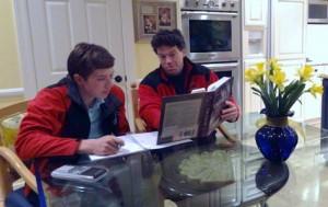 Father tutors son