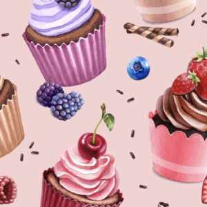 Jersey print med cupcakes - Gammelrosa