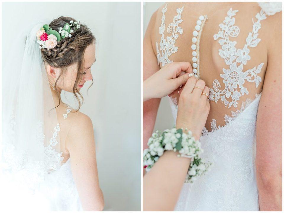 bryllupsbilleder af brudens forberedelse til bryllupsinspiration for kommende brude taget af Aarhus bryllupsfotograf Jeanette merstrand