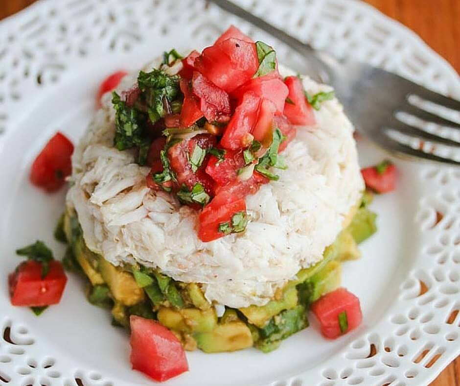 Crab Avocado Tomato Basil Appetizer With Wasabi Soy