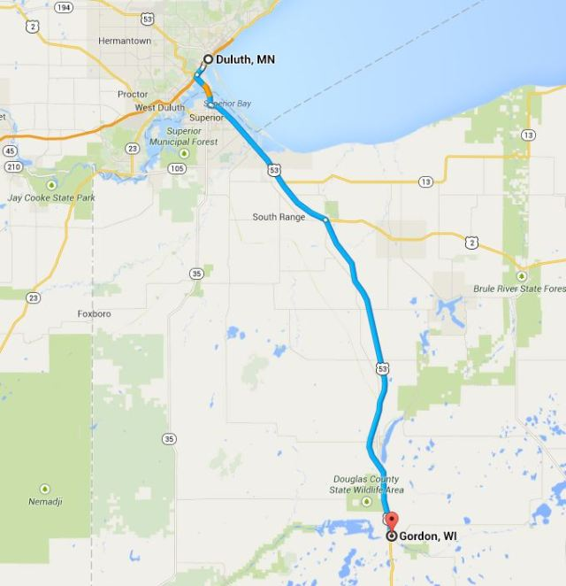 From Duluth to Gordon, Wascott, Solon Springs, Minong, Barnes