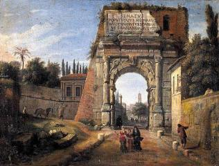 Gaspar van Wittel - Vue de l'Arc de Titus à Rome, 1710.
