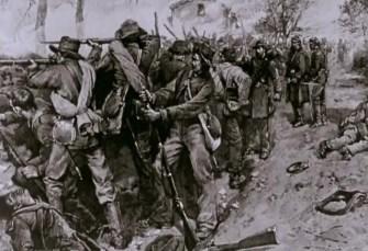 Soldats confédérés derrière le mur de Marye's Heights