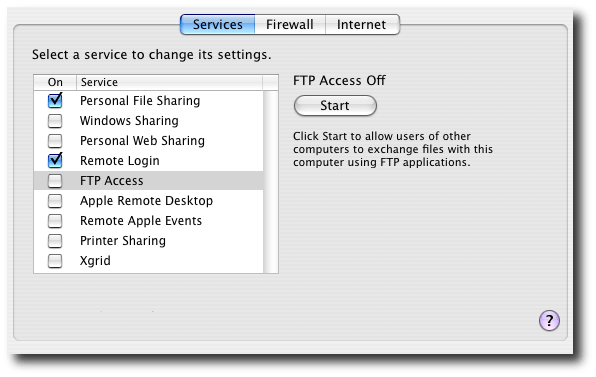 Mac OS X Sharing Preference Panes with FTP Access Off.