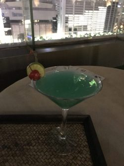 'Sapphire sky' cocktail, blue curacao and bombay? so-so.