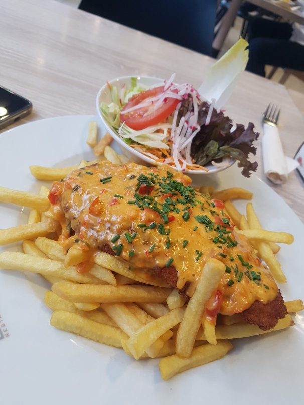 A tonkatsu-like dish of Germany, schnitzel. it was my first try but he told they should double down the price.