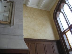 Patina glaze over plaster releif