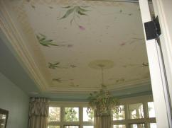 Hand painted ceiling in sunroom