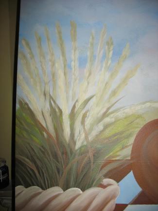 Grasses in garden pot