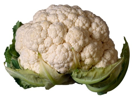 This sideshot of cauliflower shows the definitive lines and curves of the edges.