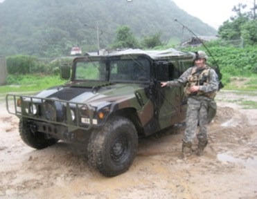 BLM, the warrior,  with his combat vehicle.