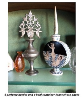 Four perfume bottles and a kohl container-JeanneRose photo.