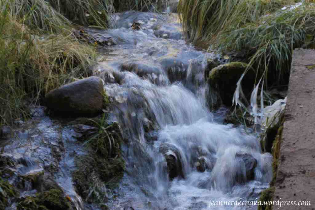 A refreshing stream flows over rocks and ice