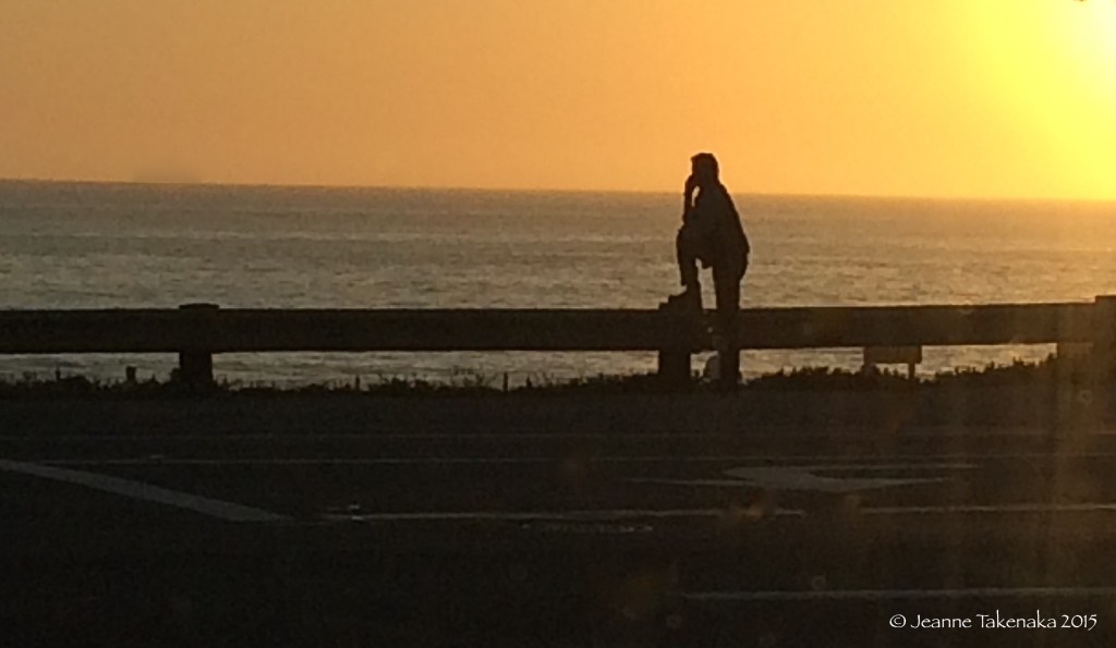 A one silhouette of a man looking out at the ocean at sunset