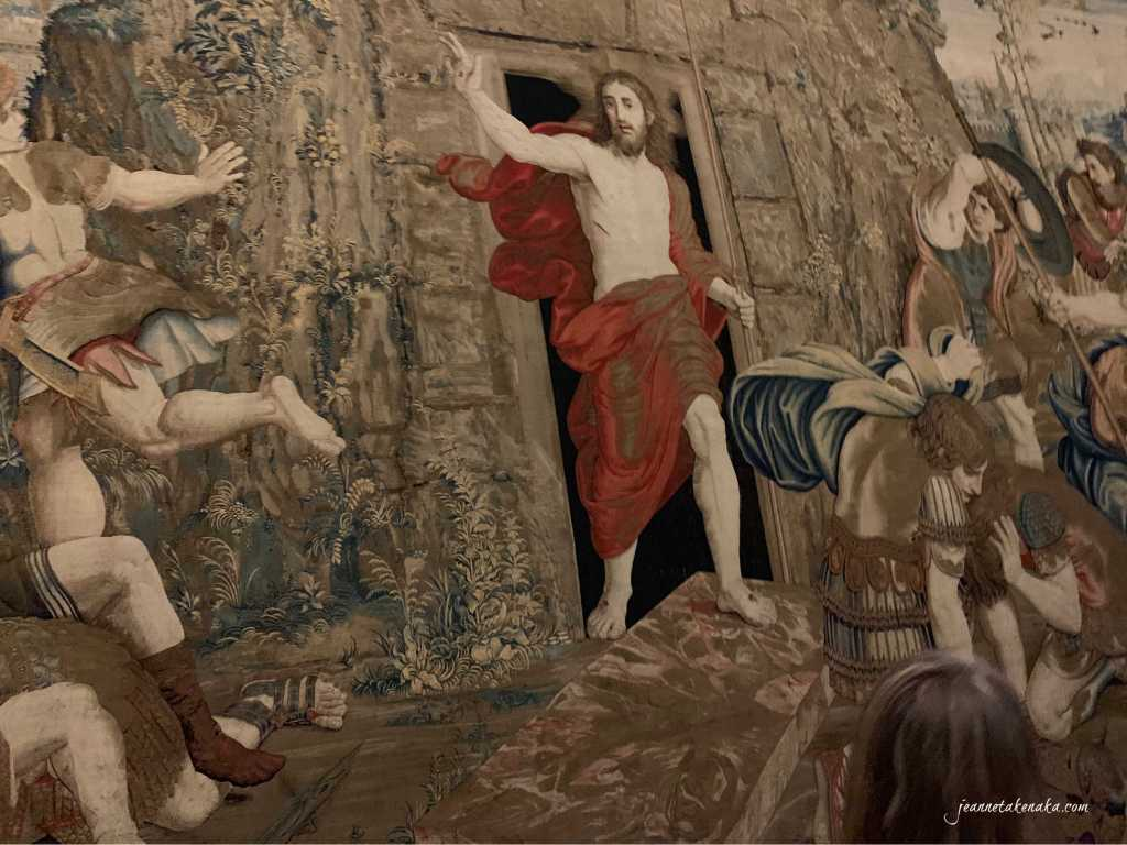 A tapestry depicting the resurrection of Jesus—He overcame death. This reminds us that He died and rose for us, so we need to evaluate our disappointment with God with this in mind