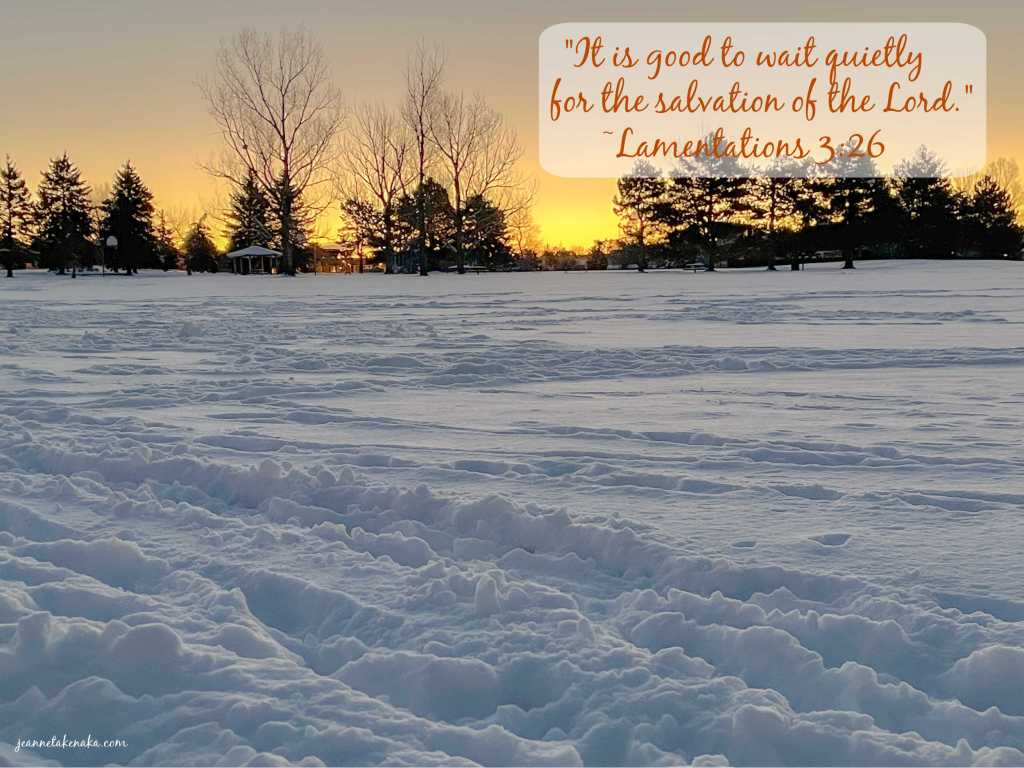 "Meme with the words ""It is good to wait quietly for the salvation of the Lord."" Lamentations 3:26 on a backdrop of snowy ground and trees silhouetted by the rising sun"