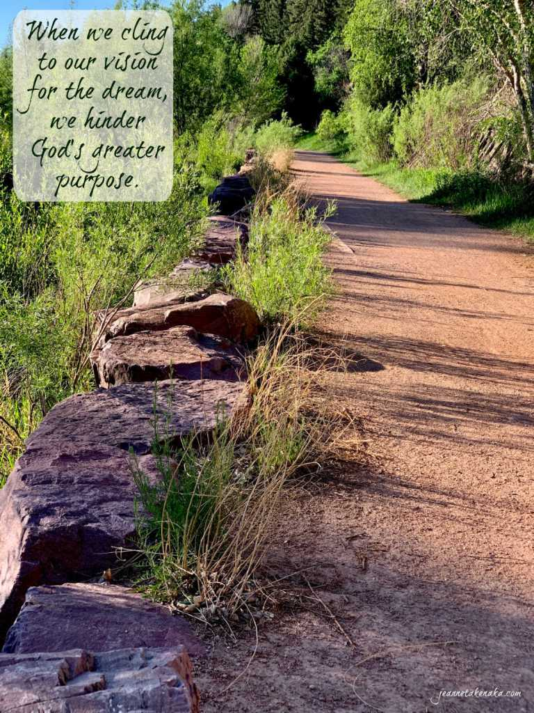 """Meme with the words: """"When we cling to our vision for the dream, we hinder God's greater purpose"""" on a backdrop of a photo with a path and a rock drop-off."""