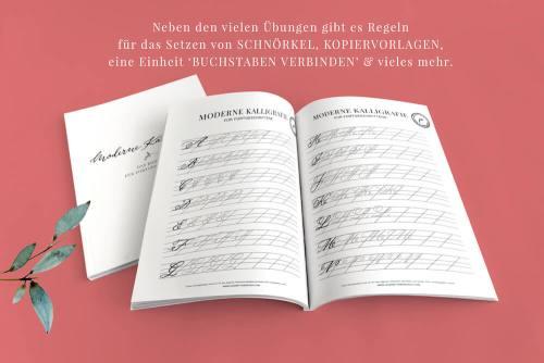 Übungsblätter Übungsheft Moderne Kalligraphie für Fortgeschrittene Guide Booklet Download Kurs Workshop Übungen Spitzkehre Copperplate Schönschrift fortgeschritten Kalligrafie Hand Lettering